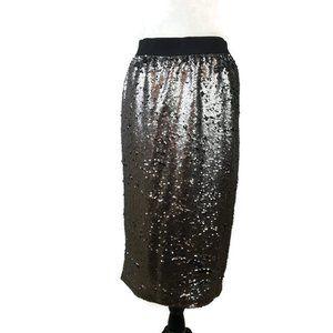 Worthington Sequin Skirt Size M Black Silver NWOT